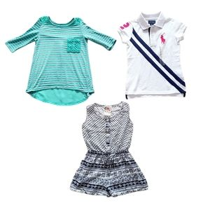 Lot of Girl's Short Sleeve Shirts & Romper Size 7